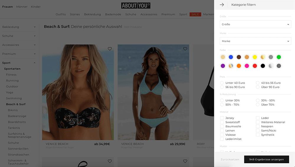 Filter vom aboutyou-Shop - Welche Ergebnisse sind zur Google Indexierung zugelassen?