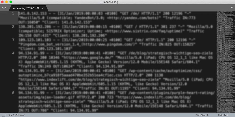 Access-Logfile-Betrachtung mit einem Texteditor - ziemlich unübersichtlich