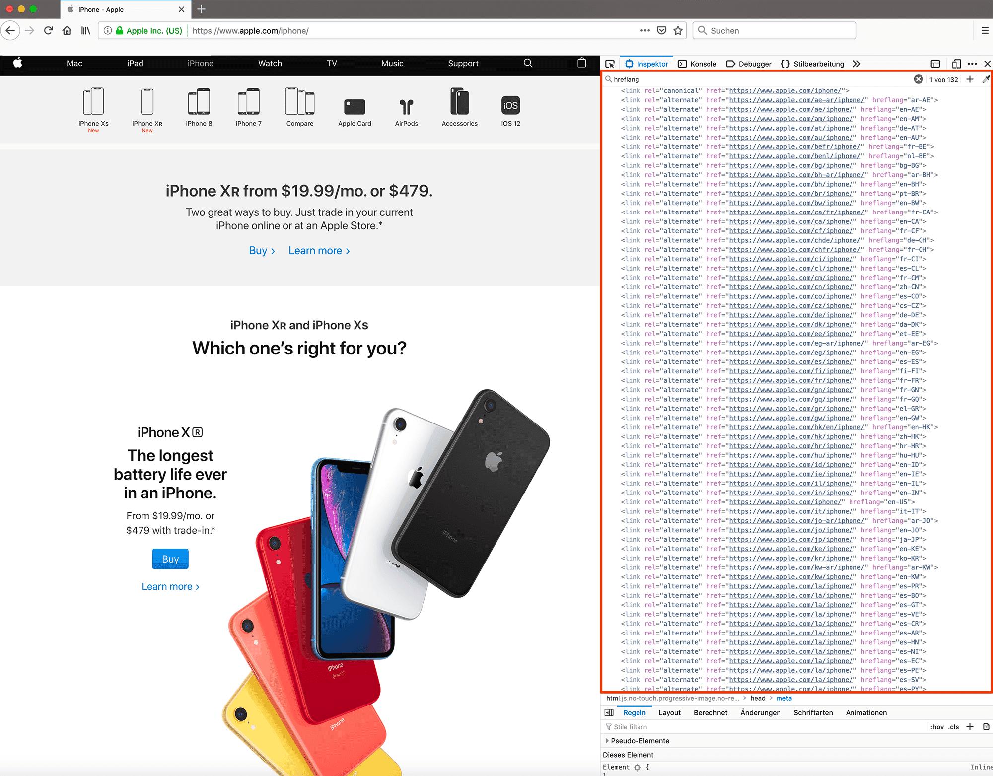 hreflang-Tags der iPhone-Einstiegseite von apple.com