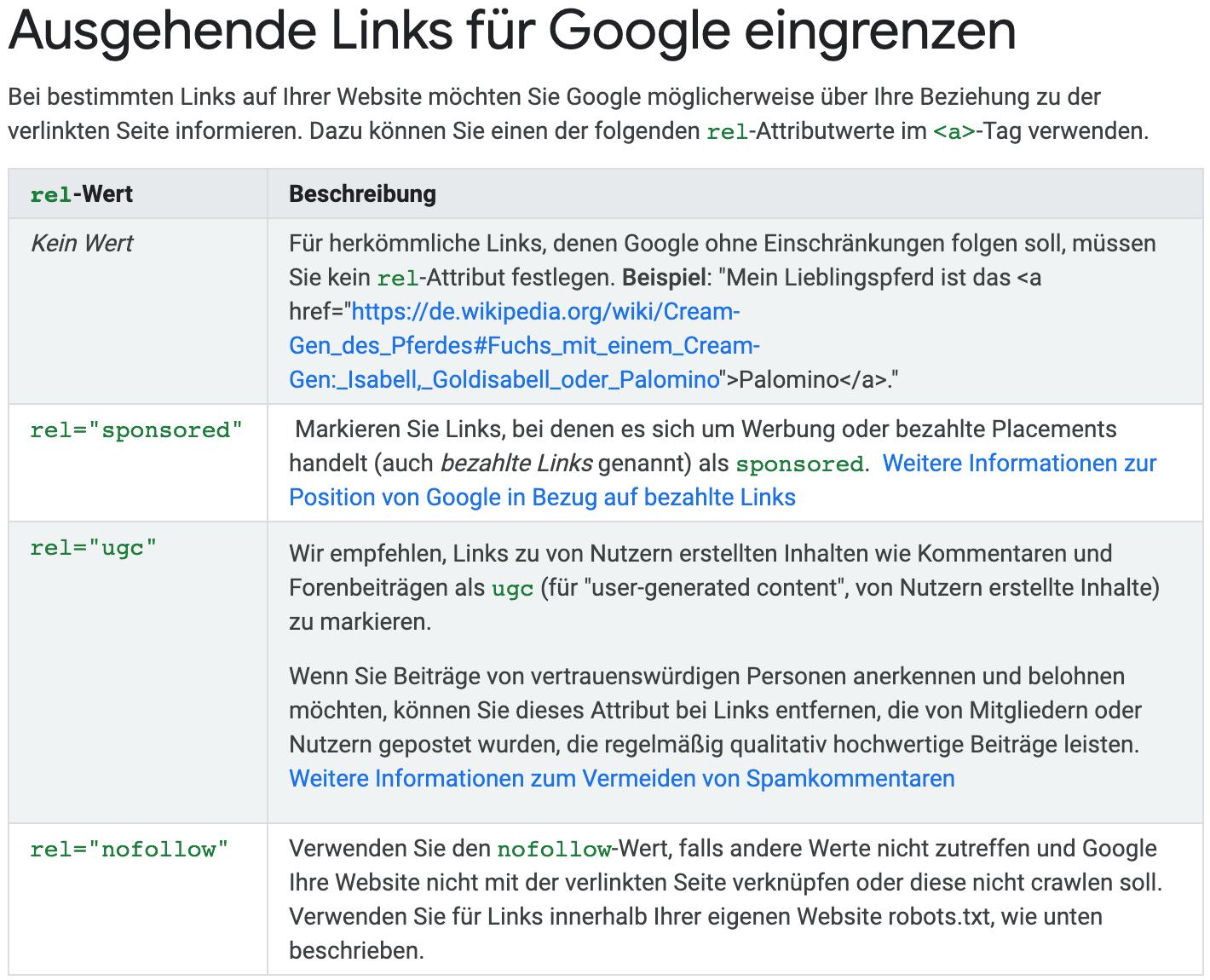 Ausgehende Links für Google eingrenzen