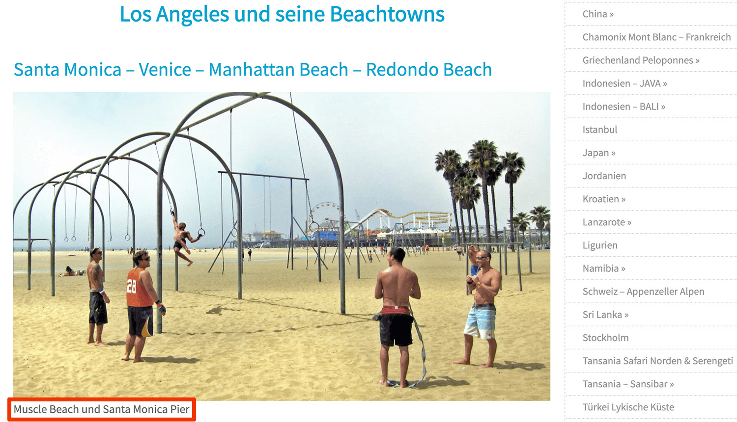 Screenshot eines Bildes mit Sportler am Muscle Beach