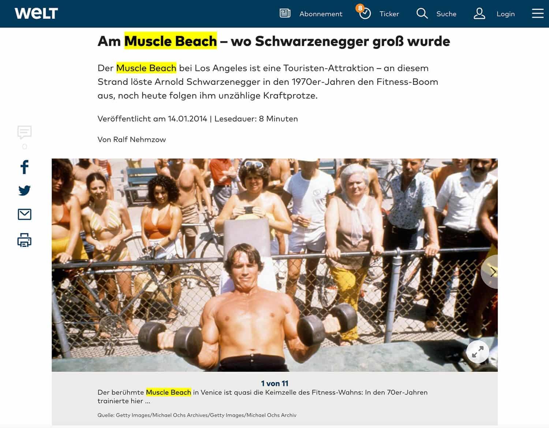 Screenshot von welt.de über einen Artikel über Arnold Schwarzenegger am Muscle Beach
