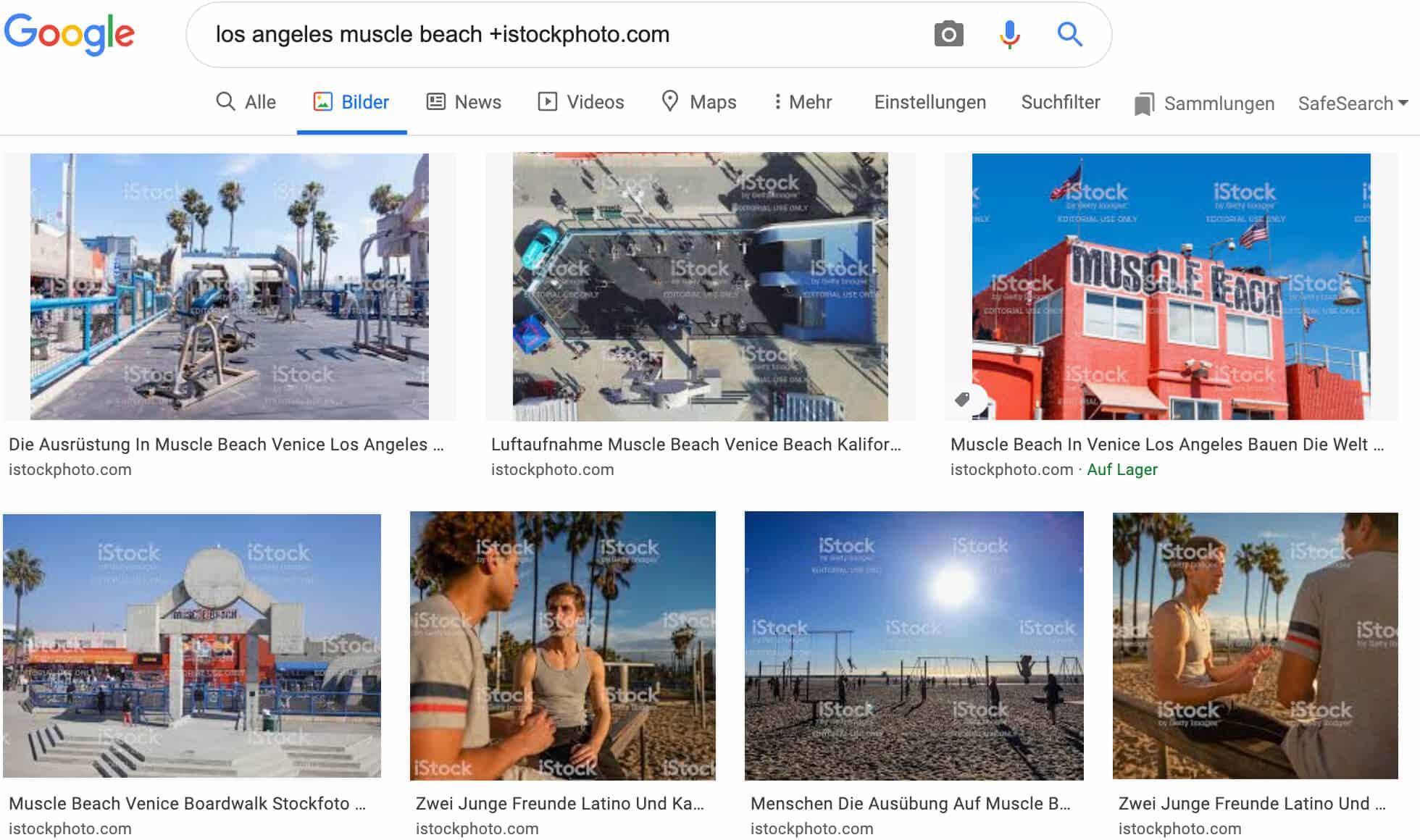 Google Bildersuche: iStock-Bilder mit Wasserzeichen