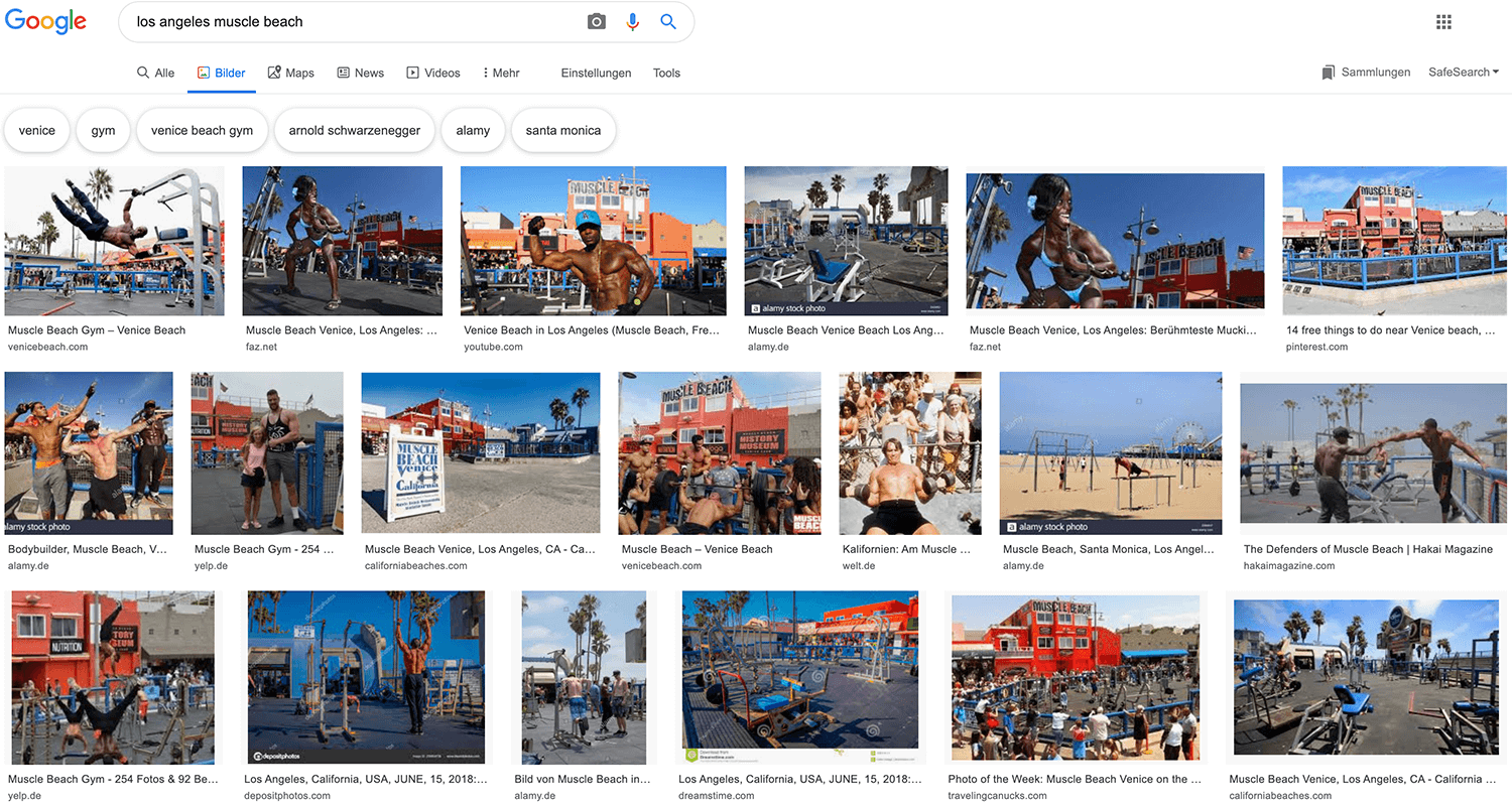 Google Bildersuche: los angeles muscle beach