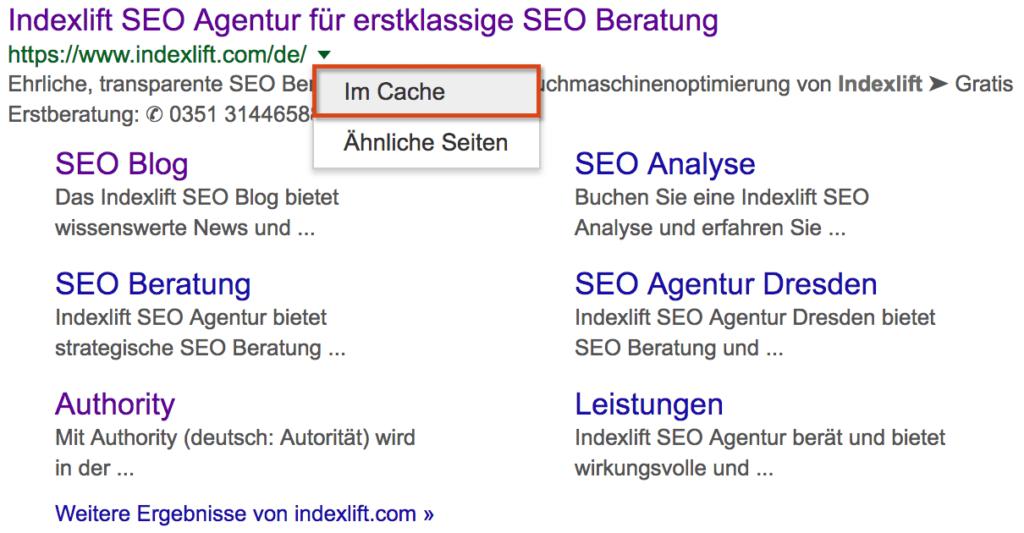 Google Cache Beispiel