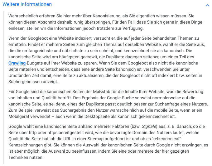 Informationen zur Interpretation von Canonical Tags // Google Search Console Hilfe
