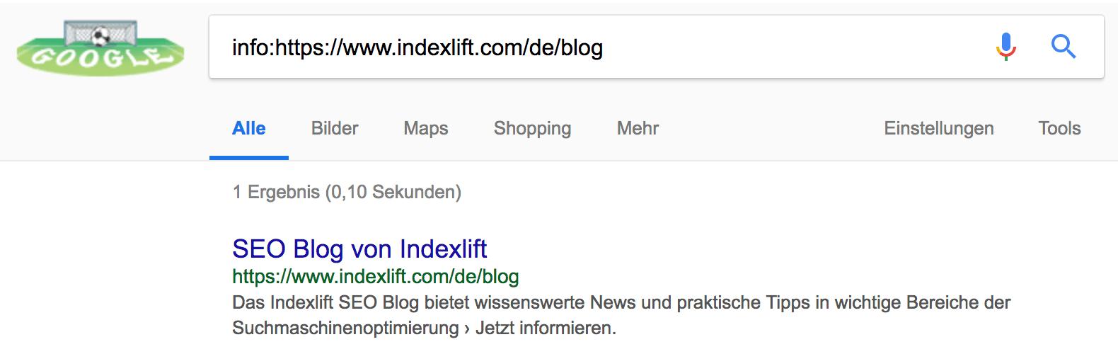 Beispiel für info-Suchoperator der Google Suche