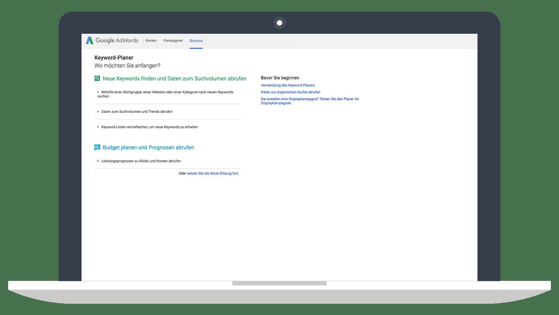 Auswahlmenü // Google Keyword-Planer