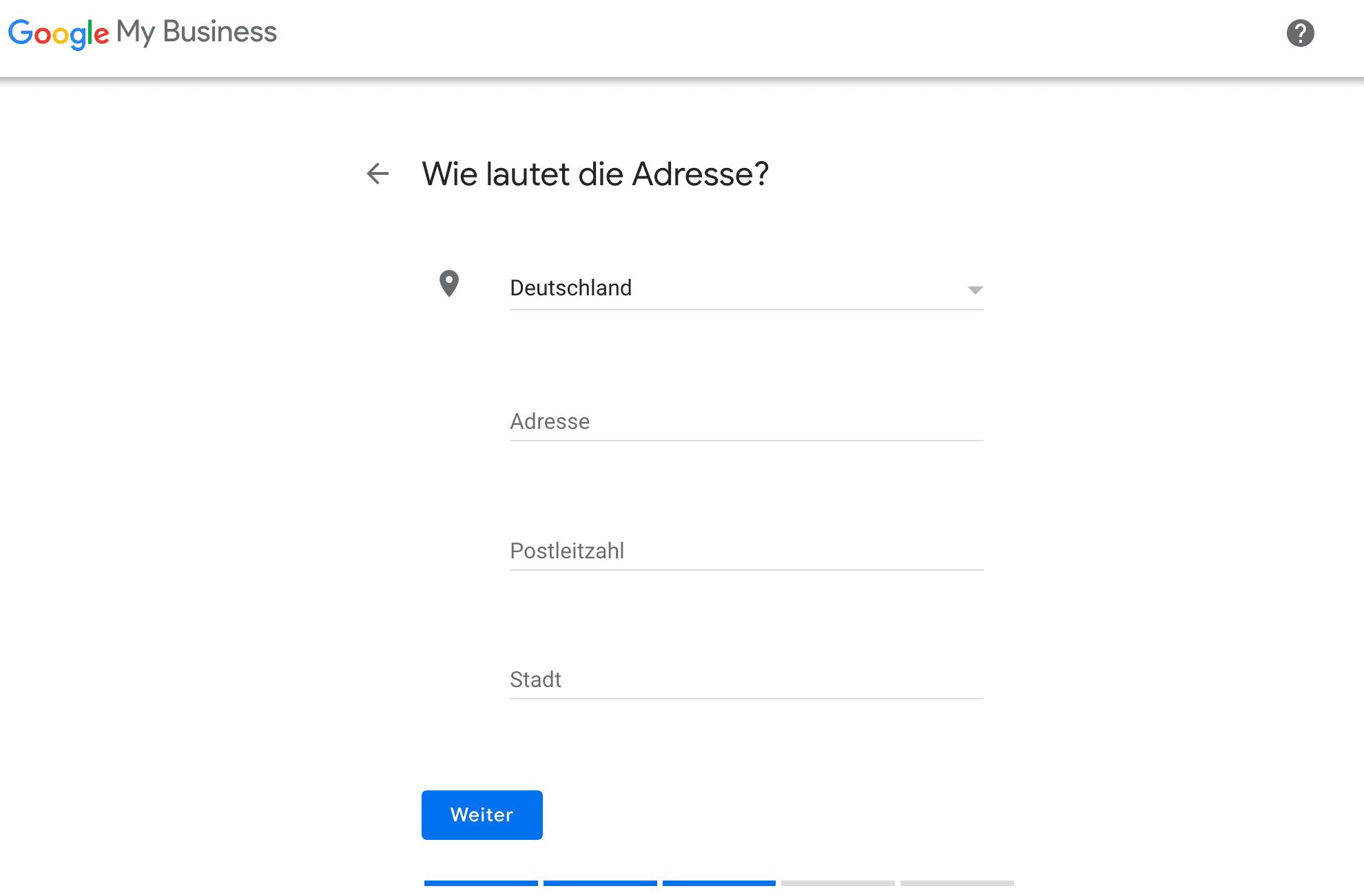 Google My Business einrichten: Adresse (POS) angeben