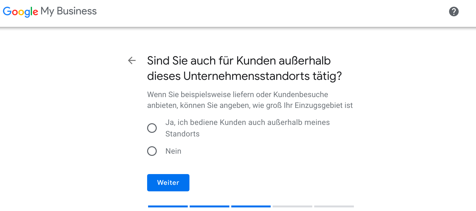 Google My Business einrichten: Einzugsgebiete Ja/Nein?