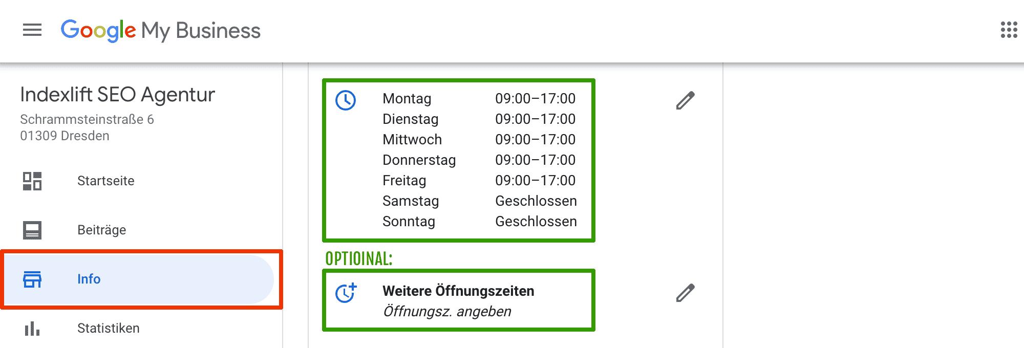 Google My Business-Eintrag: Öffnungszeiten angeben