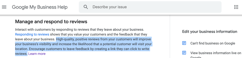 Google My Business Hilfe: Positive Bewertungen