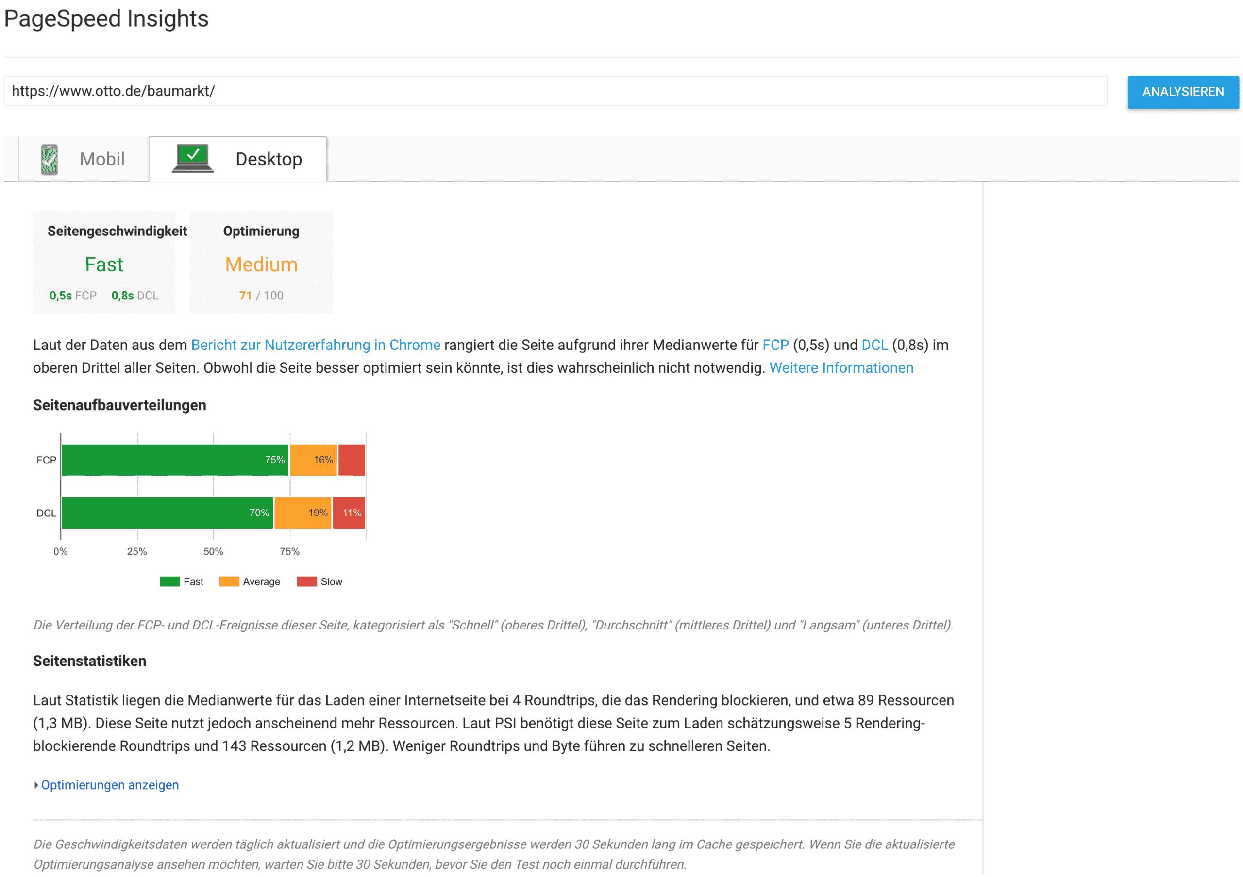 Beispiel-Ergebnis mit Seitengeschwindigkeit // Google PageSpeed Insights