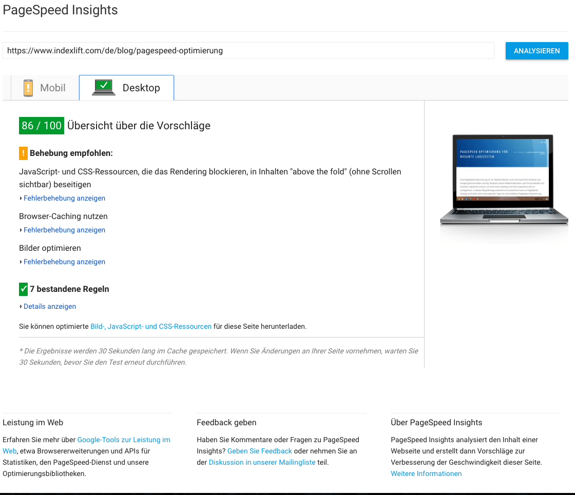 Google Pagespeed Insights-Tool