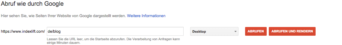 Abruf wie durch Google // Search Console