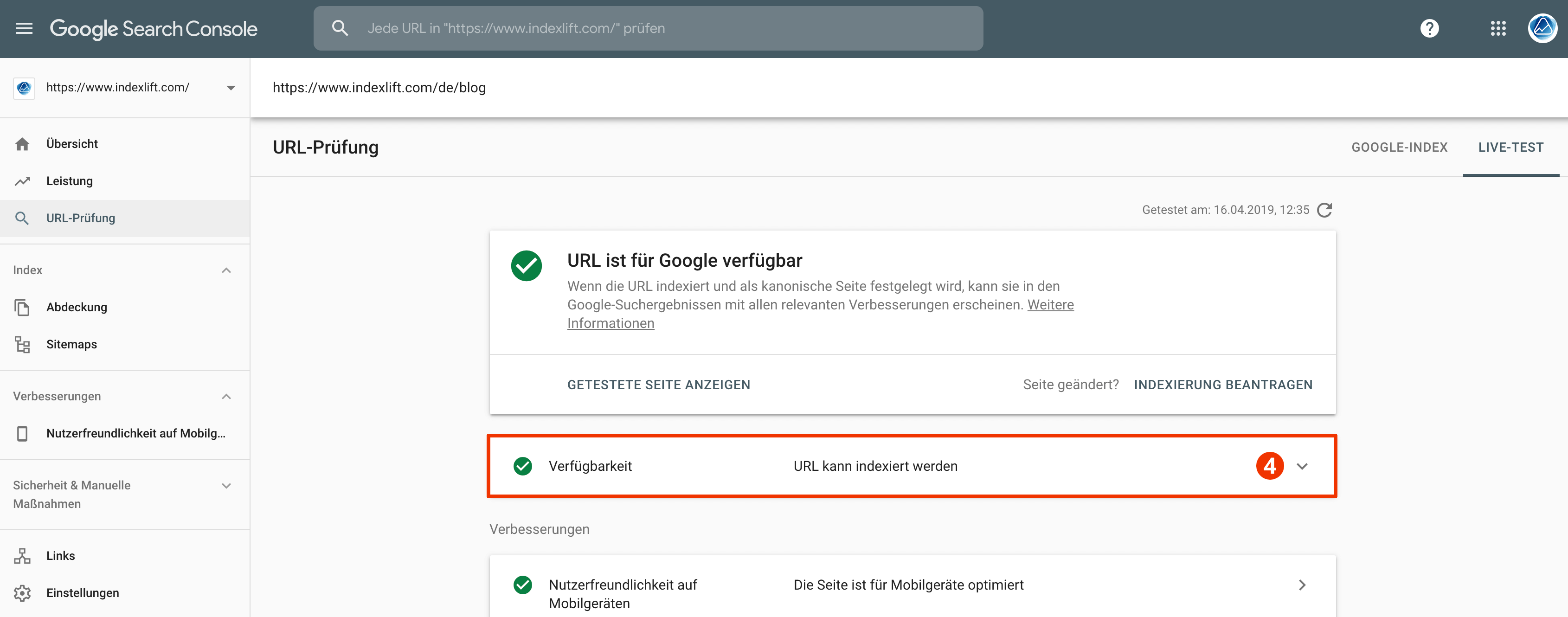Live-URL Test mit der Google Search Console