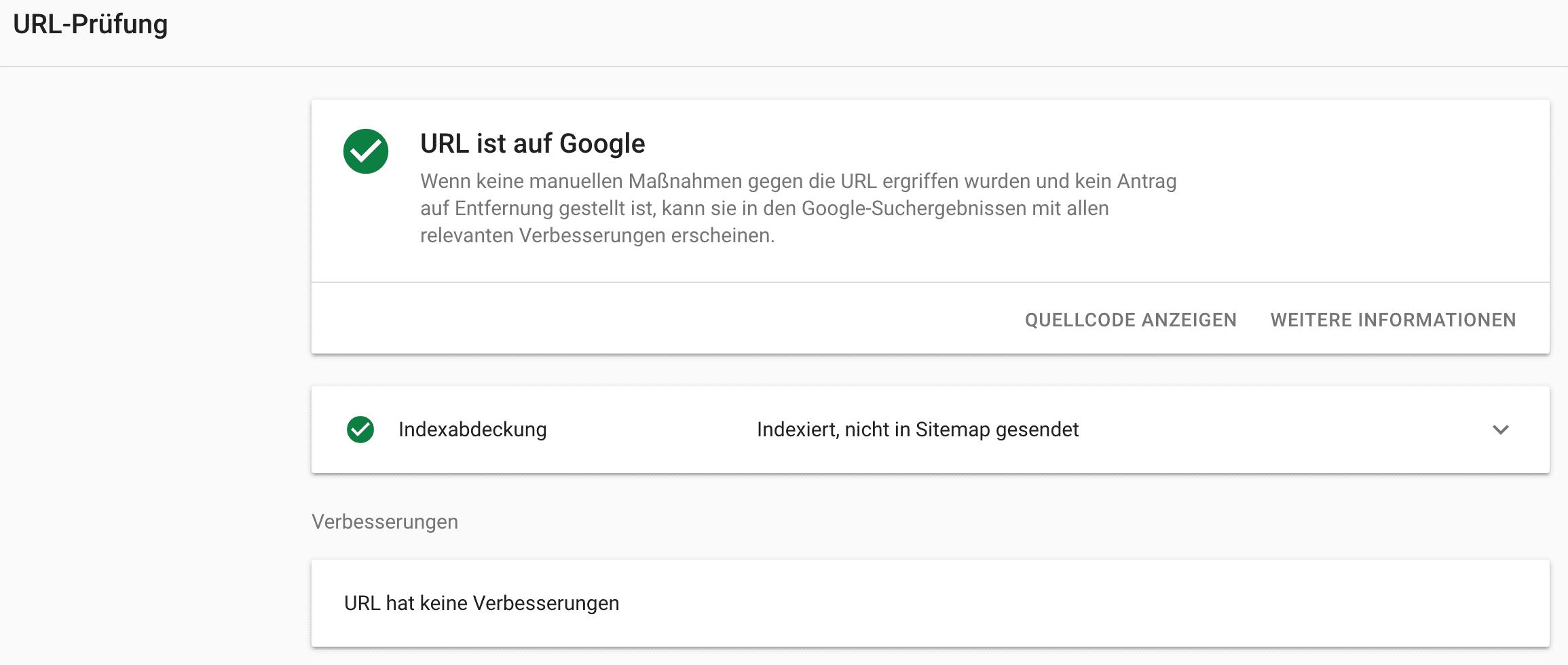 URL-Prüfung - Beispiel // Google Search Console