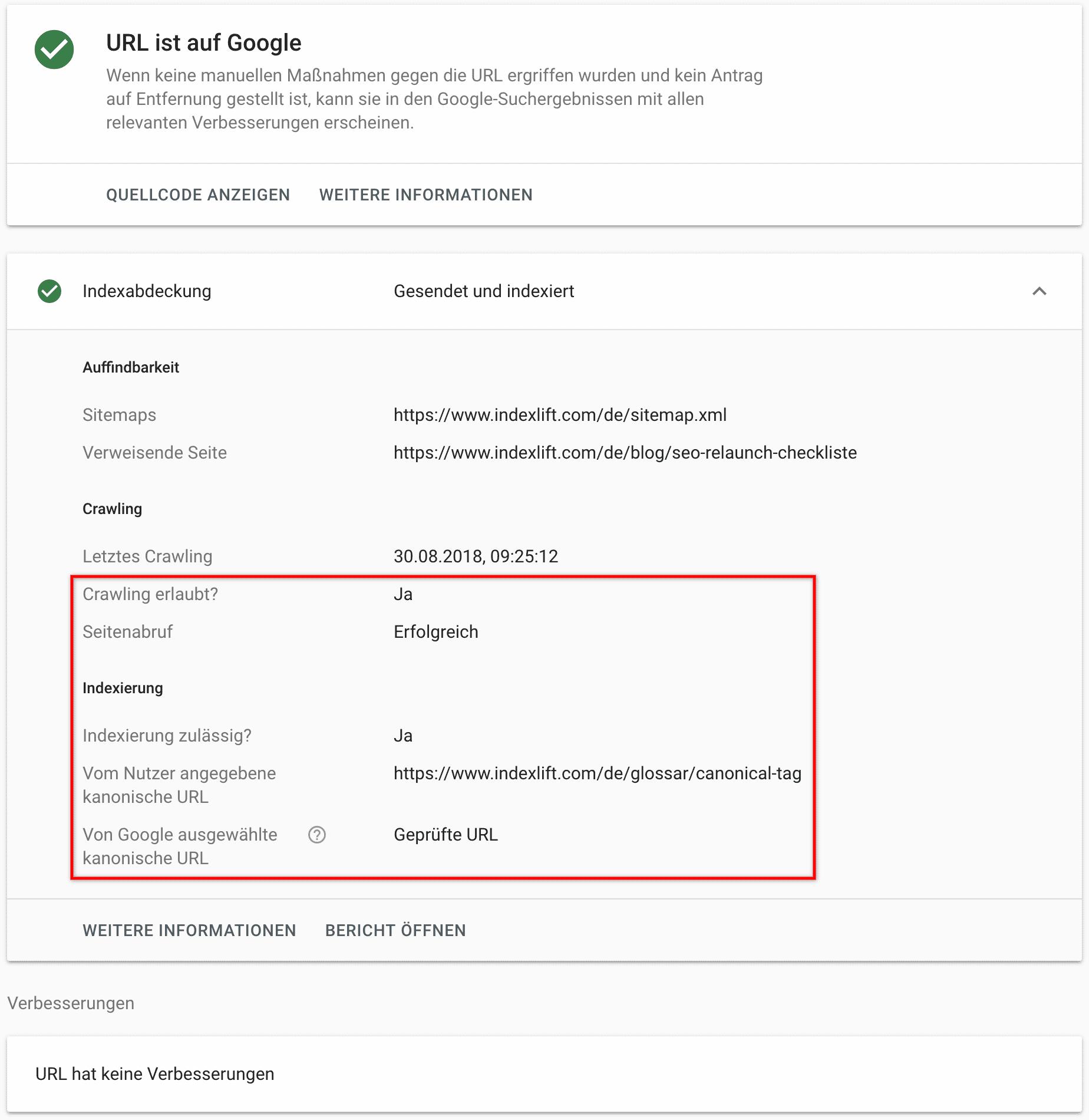 URL-Prüfung - Indexabdeckung // Google Search Console