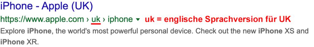 hreflang Tags-Beispiel für die englische UK-Sprachversion der iPhone-Seite von apple.com