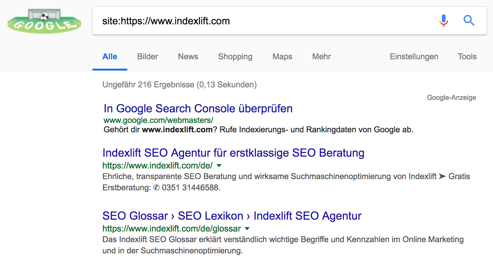 Beispiel für site-Suchoperator der Google Suche