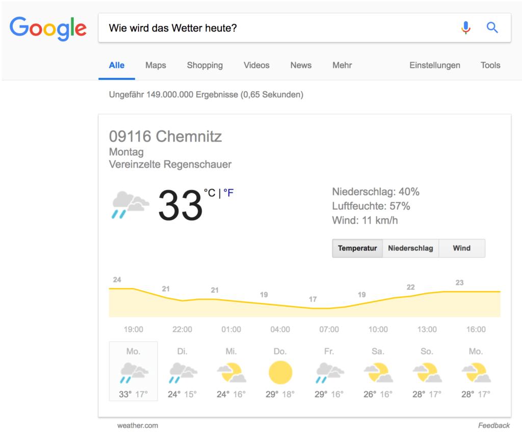 Wie wird das Wetter heute? // Google Suche