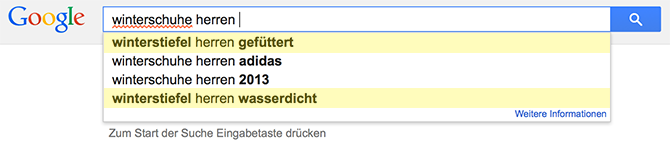 Google Suggest: Winterschuhe Herren