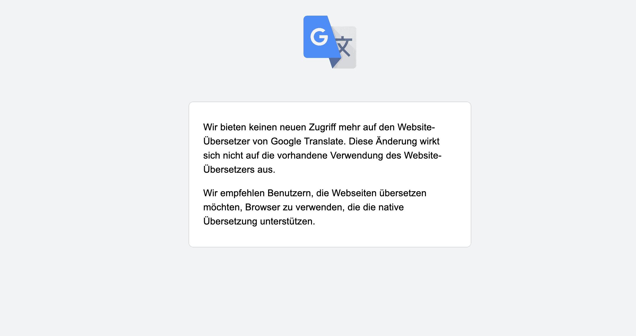 Google Translate Website Übersetzer wird nicht mehr unterstützt