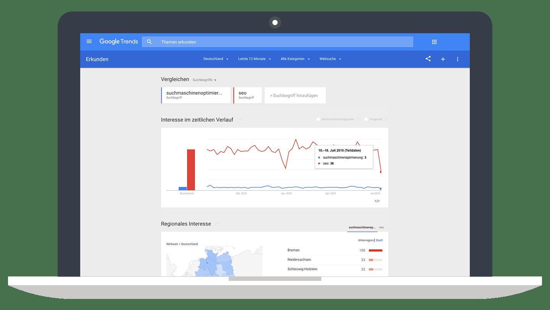 Suchtrend: Suchmaschinenoptimierung versus SEO // Google Trends