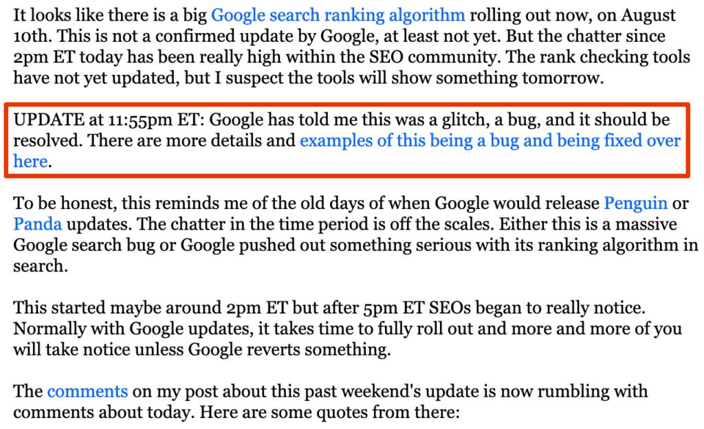 Google Update August 2020 // Quelle: seroundtable.com