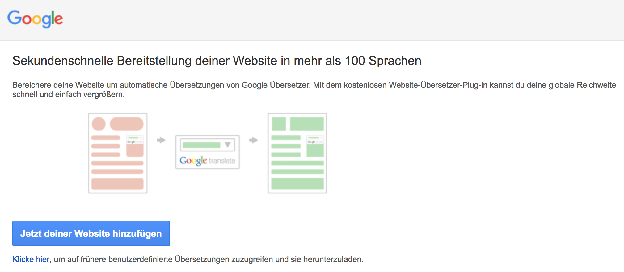 Google Website Übersetzer-Plugin