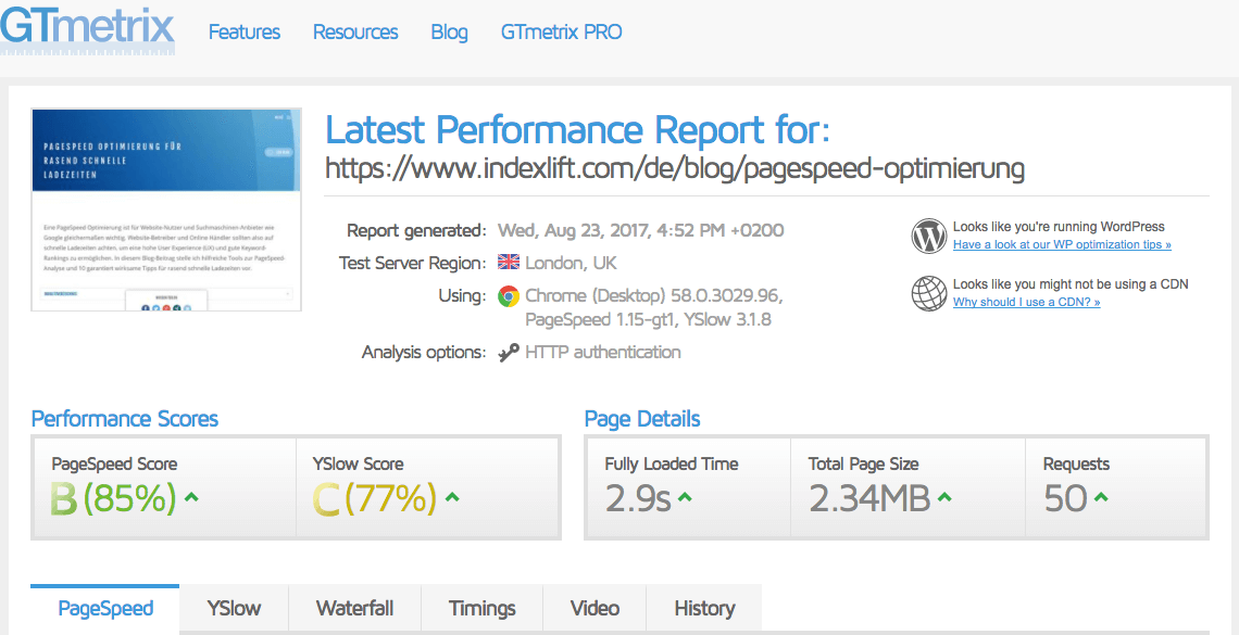 PageSpeed-Test Dashboard // GTMetrix