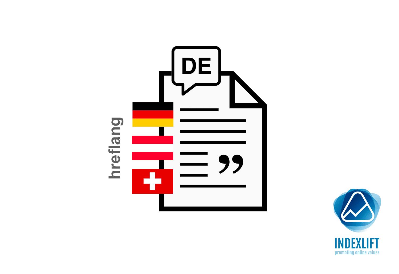 Schematische Darstellung einer hreflang Tags-Beziehung für eine deutschsprachige Seite