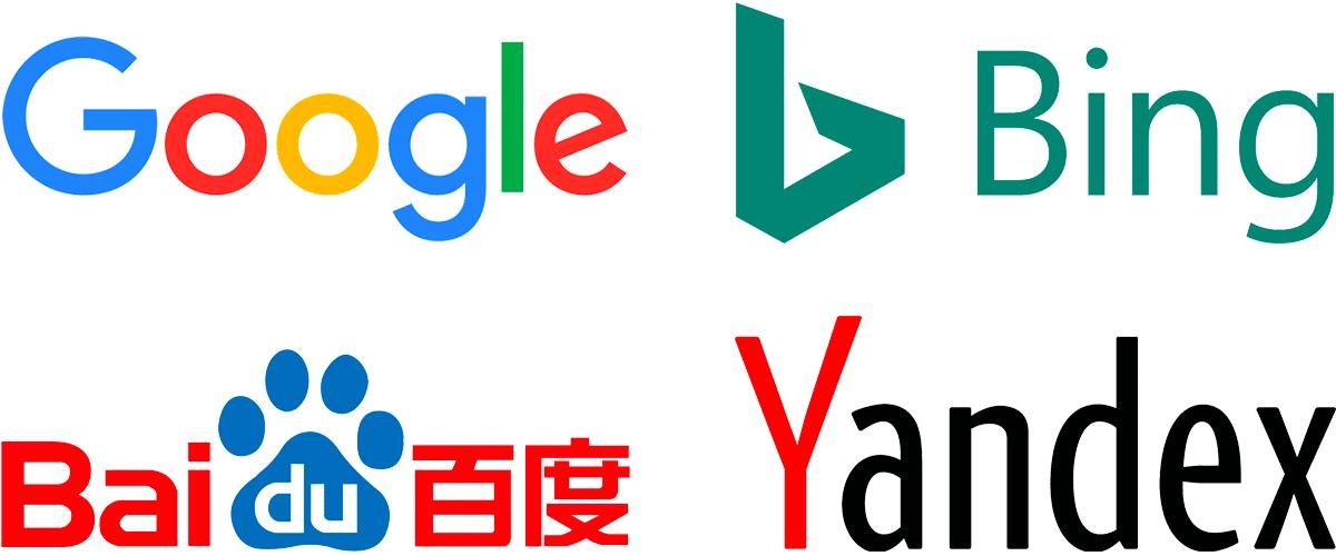 Internationale Suchmaschinen-Logos