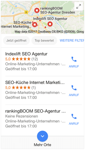 Google Local Pack - Mobilgeräte