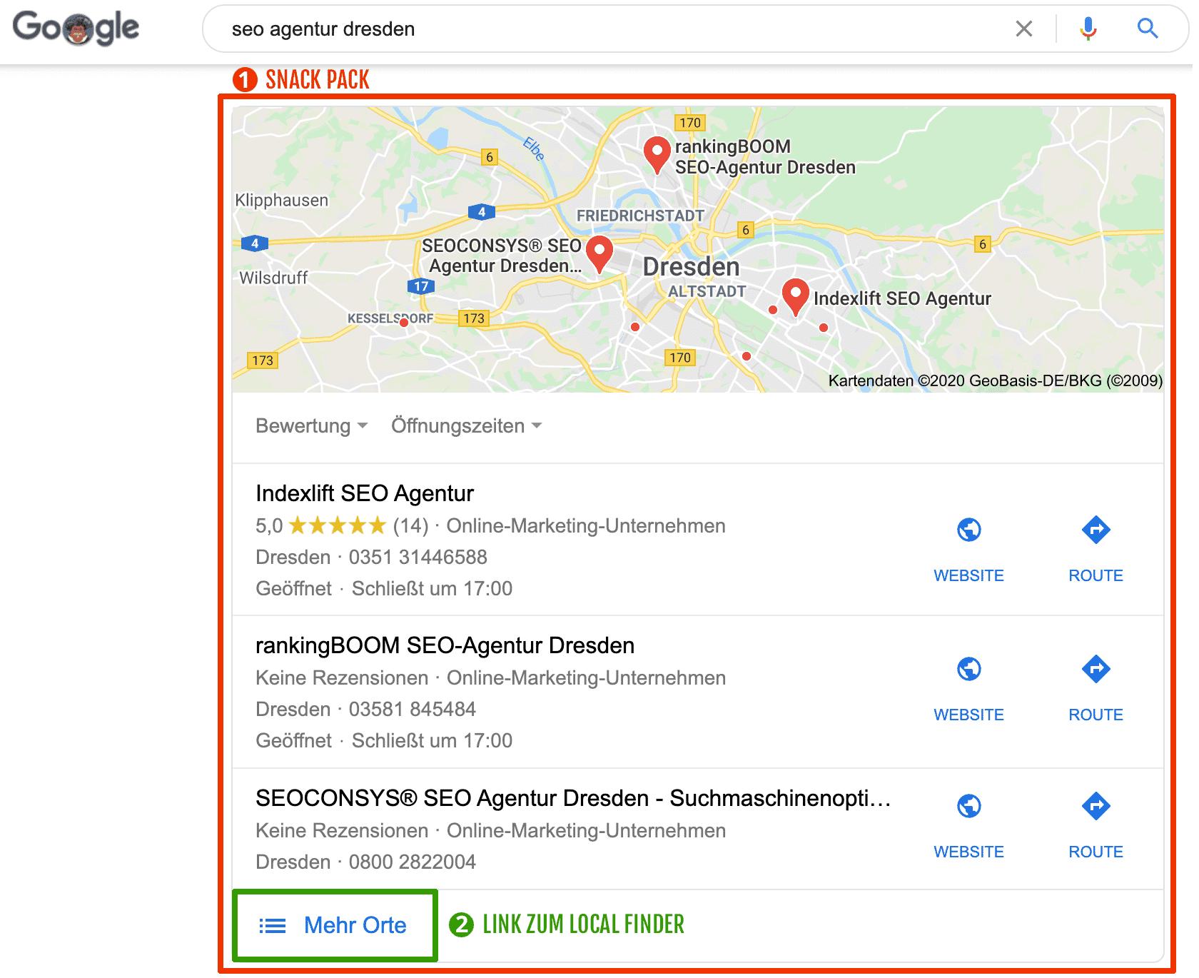 Beispiel für lokales Suchergebnis mit Snack Pack + Link zum Local Finder