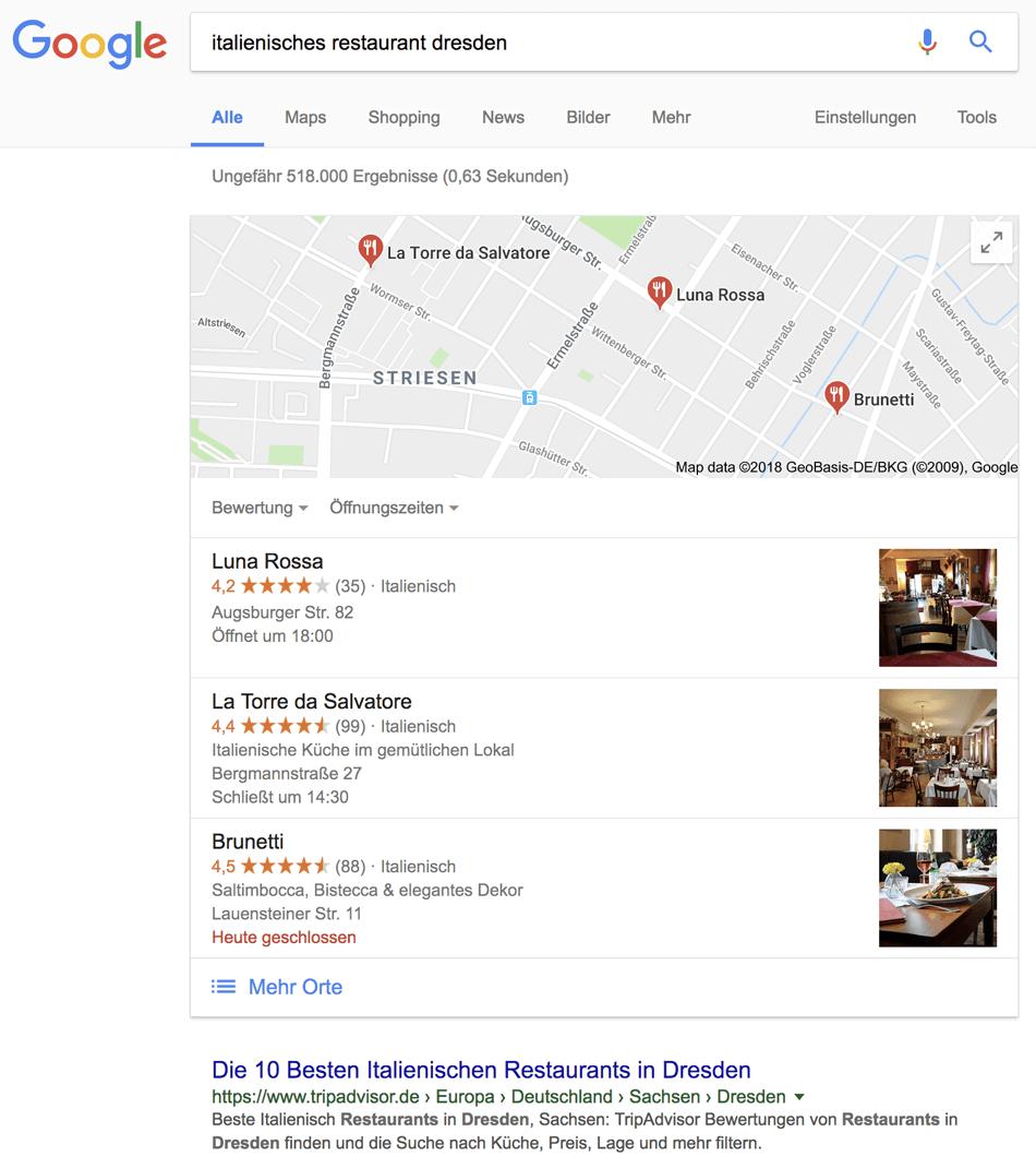 Beispiel für lokale Google Suchergebnisse