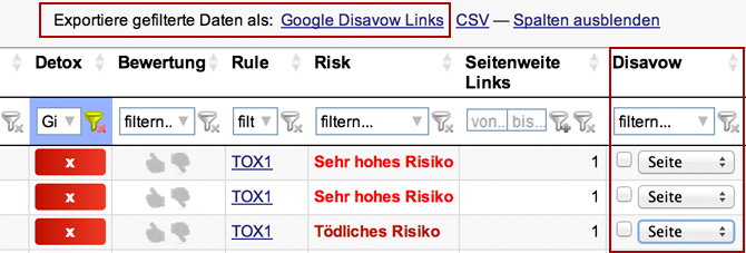 Link Detox: Google Disavow List