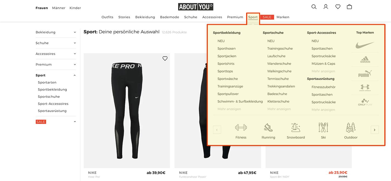 Aufgeklapptes Dropdown-Menü einer Hauptkategorie vom Aboutyou-Shop