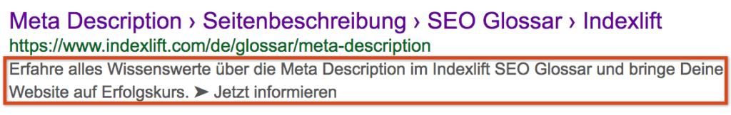 Hervorgehobene Meta Description in einem SERP Snippet der Google Suche