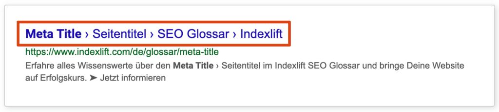 Hervorgehobener Meta  Title in einem SERP Snippet der Google Suche