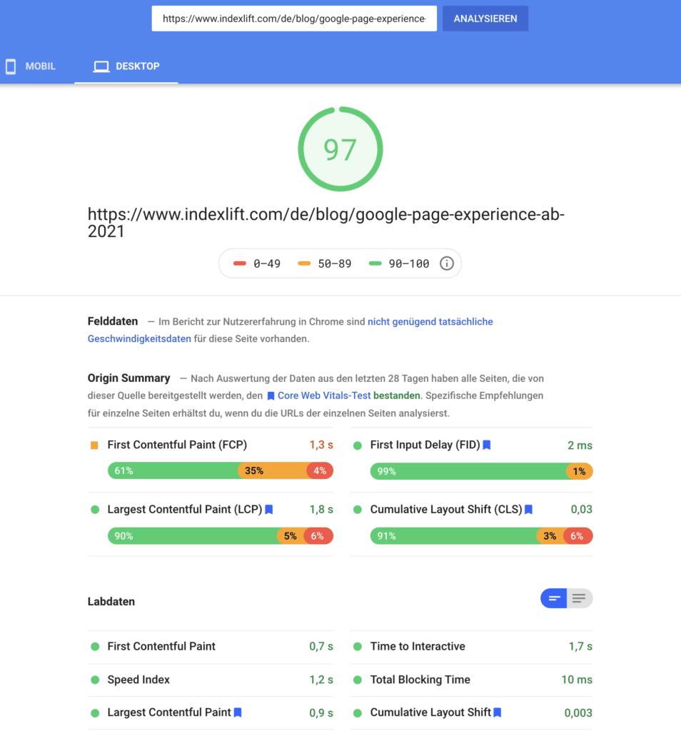 PageSpeed Insights: Feld- und Labdaten