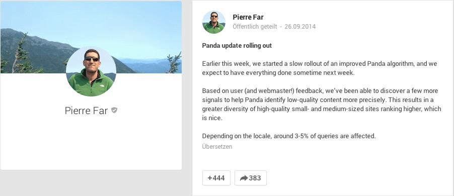 Pierre Far: Ursprünglicher Google+ Beitrag zum Panda 4.1 Update