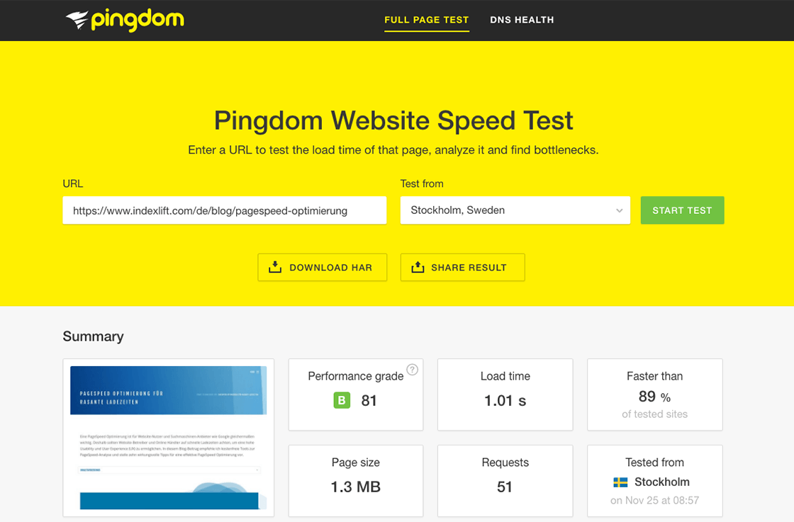 Website Speed Test // Pingdom