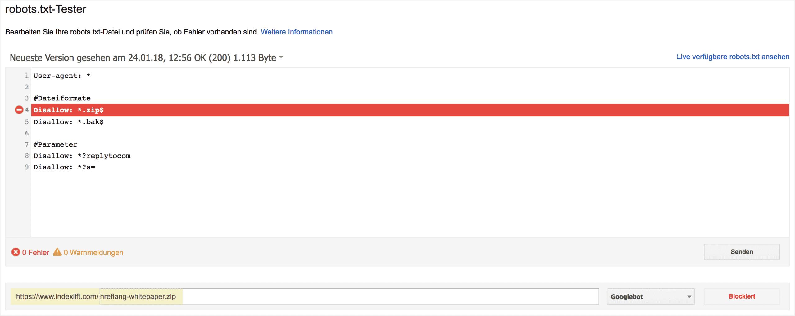 robots.txt testen mit Google Search Console