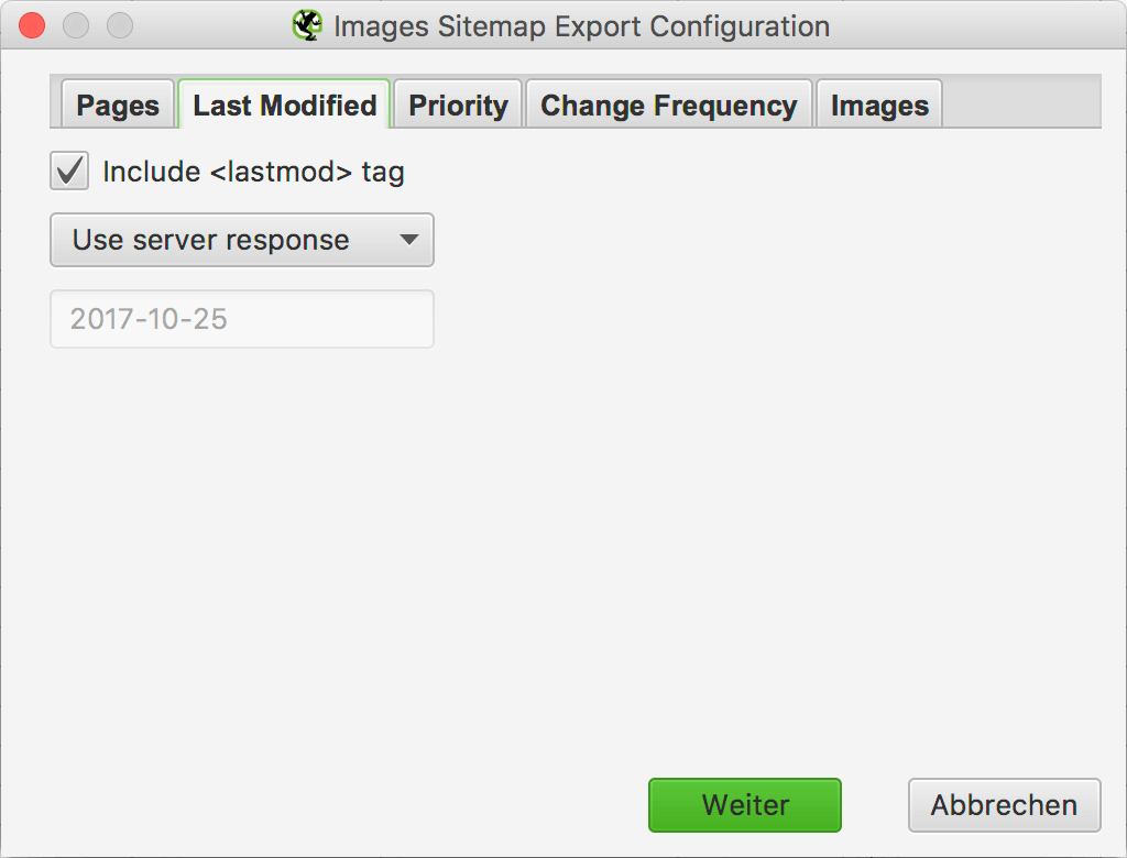 Last Modified - Images Sitemap Export Configuration // Screaming Frog