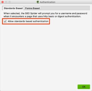 Authentifizierung zum Crawlen von von geschützten Testumgebungen aktivieren