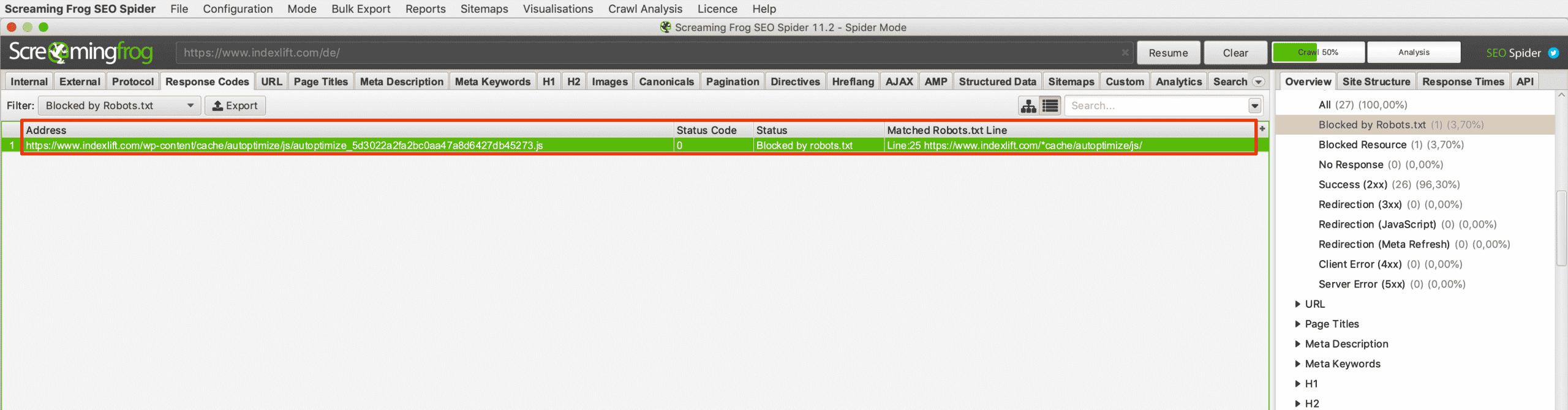 Blockierte URLs im Crawl-Mode vom Screaming Frog identifizieren und bewerten