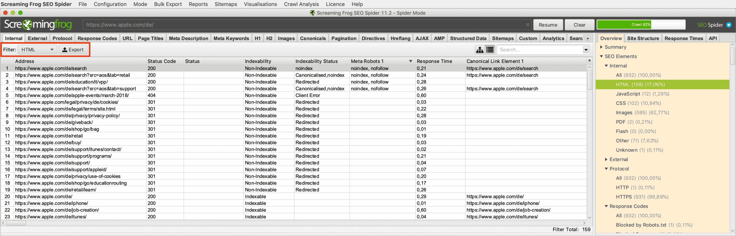 Export-Funktion der Daten-Tabelle vom gewünschten Overview-Filter