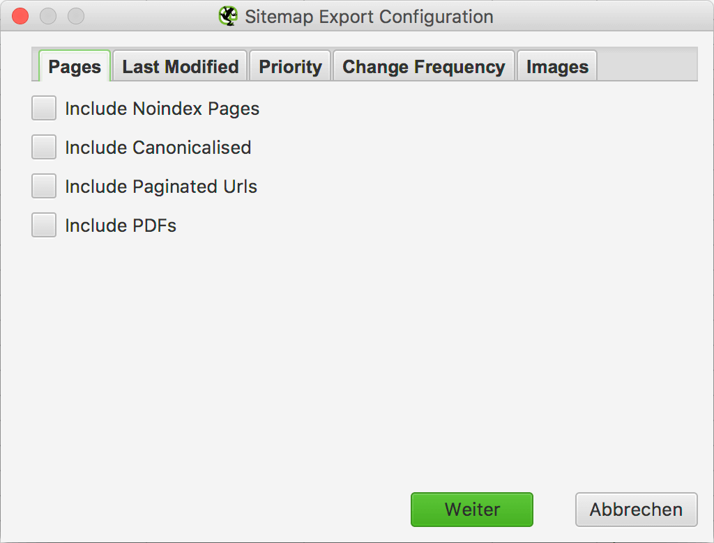 Pages Setting - XML Sitemap Export Configuration // Screaming Frog