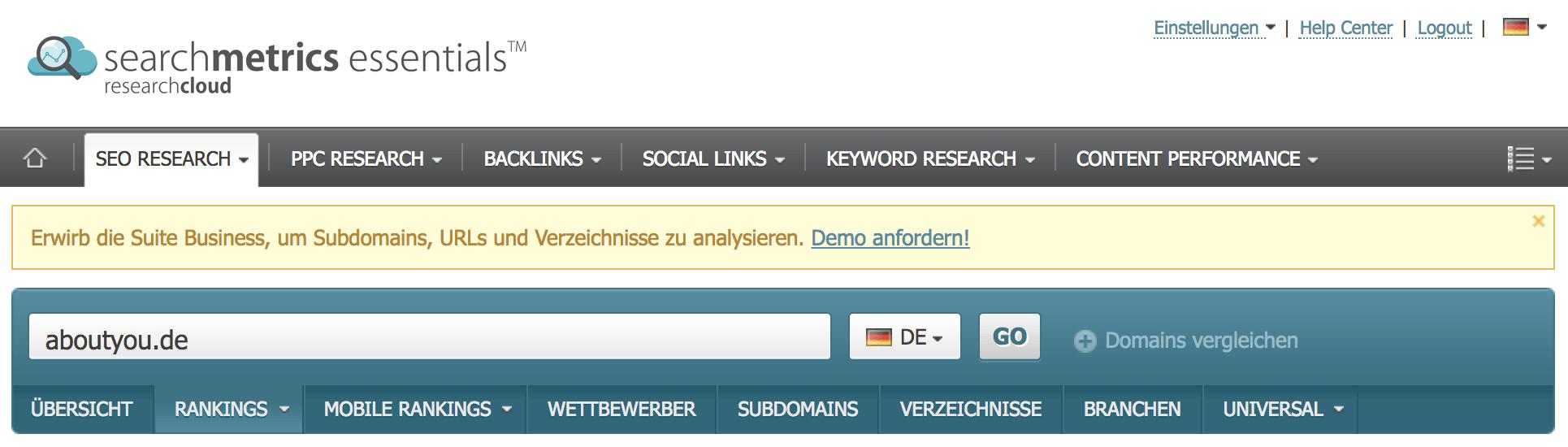 Analyse einer Subdomain, eines Verzeichnisses oder eine URL nicht möglich // Searchmetrics Essentials